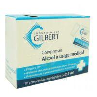 ALCOOL A USAGE MEDICAL GILBERT 2,5 ml, compresse imprégnée à Paris